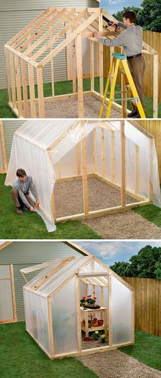 Diy greenhouse - Shed DIY Did you ever wonder how some people have their fresh vegetables and fruits on table throughout the entire year The answer for this riddle is using greenhouses Growing fruits and vegetable Backyard Greenhouse, Small Greenhouse, Greenhouse Ideas, Homemade Greenhouse, Pallet Greenhouse, Portable Greenhouse, Greenhouse Wedding, Greenhouse Heaters, Winter Greenhouse