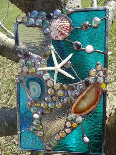 textured+starfish+art | Stained Glass Window Tropical Starfish Sea Shell Beach Agate ...