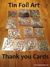 Taming the Goblin: Kids Co-op - Tin foil Thank you cards