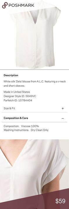 A.L.C Dela white blouse No seem flaws or wear. See pics foe details. A.L.C. Tops Blouses