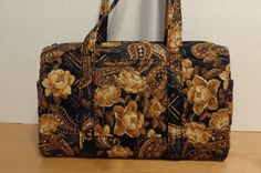 Black Brown Tan Gold Rose Quilted Barrel Style Handbag Quilted Purse by…