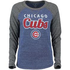 Women's Soft as a Grape Royal Chicago Cubs Natural Tri-Blend Baseball T-Shirt