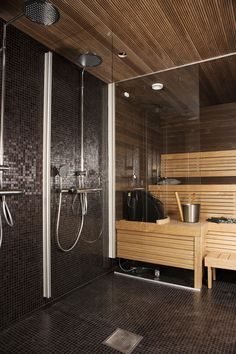 sauna and shower close Home Spa Room, Spa Rooms, Saunas, Best Infrared Sauna, Madden Home Design, Sauna Shower, Sauna Steam Room, Sauna Design, Bathroom Spa