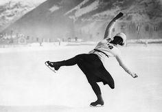 1924 Olympics, Chamonix, France. Herma Planck-Szabo of Austria.
