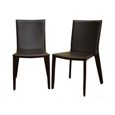 Baxton Studio Semele Dark Brown Leather Dining Chair - Set of 2