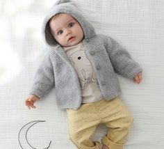Baby Sweater Knitting Pattern, Baby Knitting, Crochet Baby, Knitting Patterns, Knit Crochet, Baby Vest, Baby Cardigan, Cute Outfits For Kids, Boy Outfits
