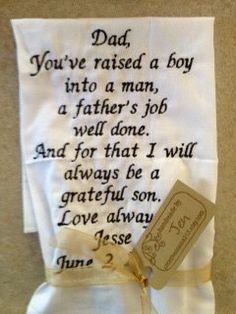 FATHER of the GROOM  SCRIPT Heirloom Personalized by JoyofGiving, $25.00