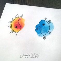 Yin to My Watercolor Yang - Super Cute Matching Tattoo Ideas For You and Your Best Friend - Photos (Best Friend Tattoos) Twin Tattoos, Couple Tattoos, Body Art Tattoos, Girl Tattoos, Sleeve Tattoos, Tatoos, Cat Tattoos, Arrow Tattoos, Trendy Tattoos