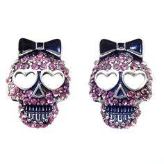 DaisyJewel Pink Skull Earrings - Betsey Johnson Top Seller Slayer / Reaper - Magenta Crystal Encrusted Sugar Skull Calavera Stud Earrings with Heart Shaped Eyes & Black Enamel Bow- Skin-Safe Silver / Metal Alloy - Posts & Backs - For Pierced Ears Betsey Johnson,http://www.amazon.com/dp/B00GMOJ4UA/ref=cm_sw_r_pi_dp_oBbLsb0G7NXMQAHQ