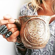 Just look at this stunning beauty✨ I mean, wow⚡️ , thank you pretty darlin for this beautiful photo! Isn't she lovely with her hand crafted turquois rings? Please check her work out, it is stellar & her IG feed is one of my very fave Dead And Company, Isnt She Lovely, Forever Grateful, Cool Mugs, Pretty Cool, Pottery, Solar Energy, Ceramics, Diy Solar