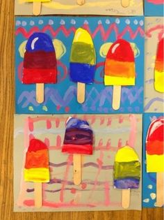 Knight's Smartest Artists: Popsicle Paintings [E] Kindergarten Colors, Kindergarten Art Lessons, Art Lessons Elementary, First Grade Art, 2nd Grade Art, Teaching Colors, Teaching Art, Color Art Lessons, Primary School Art