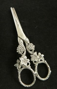 """Sterling Silver Grape Shears, 4 ¾"""", early 20th cent. Hallmarked 
