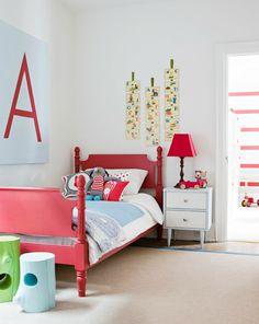 Kid's room / photo by virginia macdonald #red #babyblue #treestump #stool