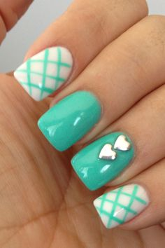 Turquoise and white nails. Love the plaid design and solid color with hearts #socute