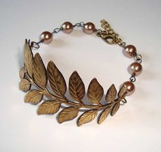 Branch and Leaves Antique Bronze Brass Bracelet with Bronze Pearls