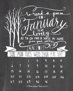 Mandipidy: Free Printable: January 2013 Calendar