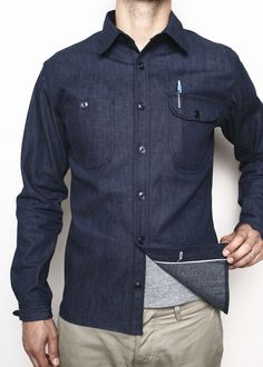 Rogue Territory Raw Denim Selvedge Work Shirt