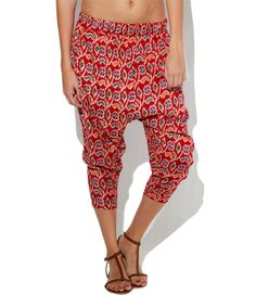 Look at this Blue Plate Red Ikat Floral Harem Pants on #zulily today!