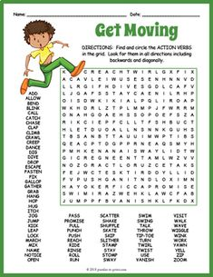 Your students will be challenged to find all of the 75 hidden action verbs in this giant word search puzzle - a worksheet designed to keep them searching for quite a while. The words are hidden in all directions and there may be some overlaps making this a challenging word search. A great activity... Word Search Games, Word Search Puzzles, Word Games, Games 4 Kids, Spring Word Search, Verbo To Be, Free Printable Word Searches, Verb Words, Kids Sunday School Lessons