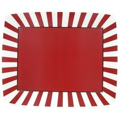 """Serve snacks, treats, and more in perfect coordination with your other party supplies with Carnival Paper Tray. The trays in this package feature a solid red exterior, red and white striped interior sides, and a solid red center. Set them out and make parties sweet.        Dimensions:      Length: 13""""    Width: 15""""    Height: 2""""          Each package contains 2 trays."""