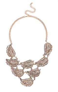 Deb Shops Short Statement Necklace with Connecting Leaves Design $6.00