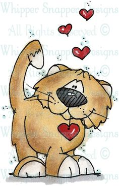 Hearts Kitty - Cats - Animals - Rubber Stamps - Shop