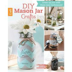 With a few crafty touches, you can turn ordinary jars and bottles into charming home accessories, cute gift containers, clever keepsakes, and helpful organizers. All you need is a little paint, some jute or burlap, labels or tags, or other trims.     Easy projects in DIY Mason Jar Crafts include Terrariums, a Storage Shelf with hanging jars, a monogrammed Kitchen Storage jar, glittery Tablescape Jars, a Travel Savings Jar, Beach Memory Jar, Sand Collection Bottle, Ship in a Bottle, painted…