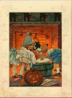 Clara M. Burd - children bob for apples on vintage Halloween illustration