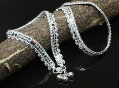 a6ece37c2 Real Sterling Silver Anklets ladies Ankle chain women Foot Bracelet Pair 10