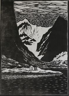 Alf Aanes - In West Lofoten. Woodcut on Japanese paper by printmaker/artist from Stamsund, Lofted, Norway.