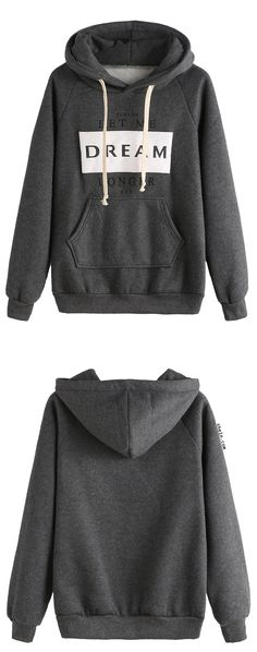 Grey Letters Print Pocket Hooded Sweatshirt. Original by shein.