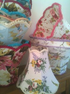tailored traditional lampshades in vintage cotton barkcloth