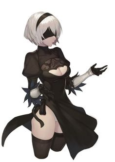 black_dress blindfold breasts cleavage cleavage_cutout dress feather-trimmed_sleeves hairband highres leotard leotard_under_clothes nier_(series) nier_automata parted_lips short_hair side_slit silver_hair simple_background solo thighhighs upper_body Anime Girl Cute, Kawaii Anime Girl, Anime Art Girl, Manga Girl, Anime Fantasy, Fantasy Girl, Arte Game Of Thrones, Neir Automata, Fantasy Characters