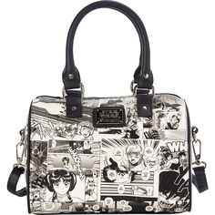 Loungefly Star Wars Black And White Comic Duffle (150 BRL) ❤ liked on Polyvore featuring bags, handbags, black, zip top bag, loungefly handbags, duffle purse, loungefly bags and cartoon handbag