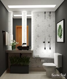 Lovely guest toilet. Dark and Cozy :) project and 3d: Karina Reid