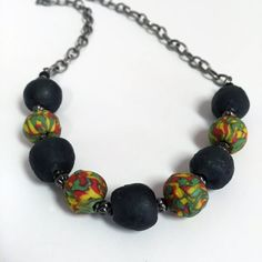 Recycled Krobo and Black Recycled Glass  Necklace by RisingVillage