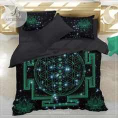 Spiritual galaxy yoga bedding, Sacred Flower of Life Lotus galaxy duvet cover set, spiritual bedspread - ARTBEDDING