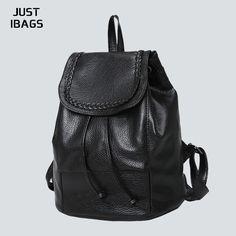 PU Leather Women drawstring backpack Backpack Backpack Fashion Girls casual student backpacks Black High Quality brand