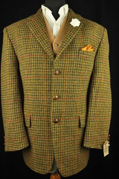 Lovely Harris Tweed jacket in a country brown cloth with green, navy and red houndstooth check. The jacket has a 3 button front and is fully lined. The condition of the jacket is Excellent. The jacket has been well looked after and is ready to wear. | eBay!