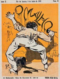 Revista O Malho, de 1903, ilustração de Raul Pederneiras. Destaque para a linguagem de charge