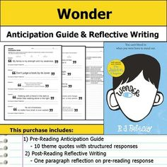 """Get students making """"big picture"""" connections with this Wonder anticipation guide and reflective writing."""