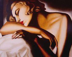 """acqua-di-fiori: """" La Dormeuse ( 1932 - 1934 ) - Tamara de Lempicka Tamara de Lempicka, born Maria Górska in Warsaw, Poland, was a Polish Art Deco painter and """"the first woman artist to be a glamour. Art Deco Artists, Art Deco Paintings, Art Deco Stil, Art Deco Era, Pinturas Art Deco, Tamara Lempicka, Moda Art Deco, Estilo Art Deco, Art Deco Movement"""