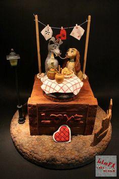 Topo de bolo A Dama e o Vagabundo ♥