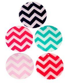 "Acrylic 3"" inch Circle Disc Light Pink Chevron Pendant Tag Plexi Accessories Bookbag Ornament Vinyl Application Monogram Personalization"