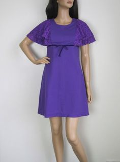 Vintage 1960s-1970s Purple Mini Dress With Flutter Sleeves available to buy online at Virtual Vintage Clothing £30