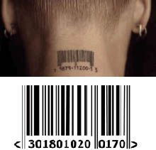 Singer Pink tattoed the bar code from the album Missundaztood just below her hairline on back of her neck. Very special temporary tattoo. Zornic used our Pink barcode tattoos to make this clip for their single 'The Enemy'.