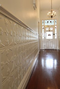 tin wainscoting for wall Metal Wall Panel, Decor, Remodel, Tin Ceiling, Tin Walls, Home, Metallic Wall Tiles, Wainscoting Styles, Wainscoting