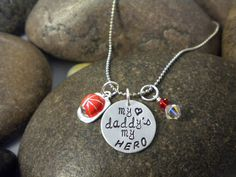 Custom Hand Stamped My Daddy My Hero Firefighter Charm by SWCtoo, $24.00