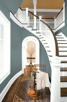 Ilove the color in this Entry way