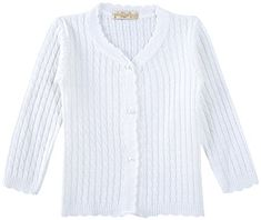 Lilax Baby Girls CableKnit Cardigan Sweater 12M White *** For more information, visit image link. (This is an affiliate link)